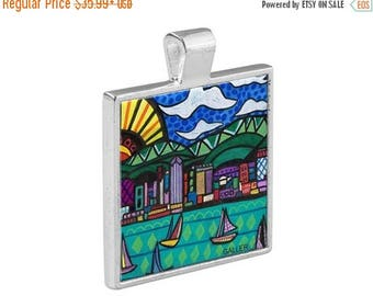 SALE ENDING- San Diego California City Skyline Necklace Folk Art Jewelry - Pendant Metal  Gift Art Heather Galler Gift-  Travel Abstract V