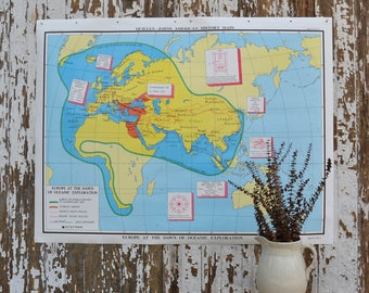 Vintage School Map - Large US United States America Europe History Pull Down Map European