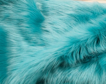 "Turquoise 60"" Wide Shag Faux Fur Fabric by the yard - Style 5002"