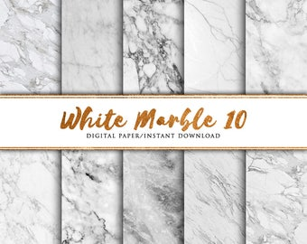 White marble digital paper 10 pack, Marble paper, Marble print, marble background, Marble printable paper, Marble art, Scrap, Summer