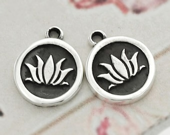 2 of 925 Sterling Silver  Lotus Print Charms 10.7mm. :th2214