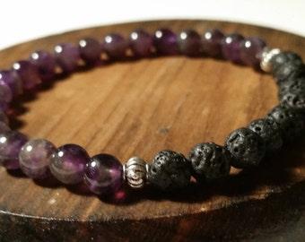 Amethyst Lava Bead Diffuser Bracelet