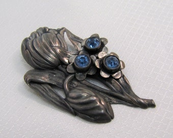 Antique Sterling Forget-Me-Not Mourning Brooch