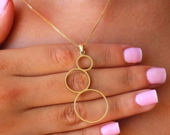 Circle gold necklace, Solid 14k gold necklace, Gold 14K pendant, Necklace 14K solid gold