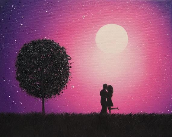 Couple in Love Art Print Kissing Couple Silhouette Art