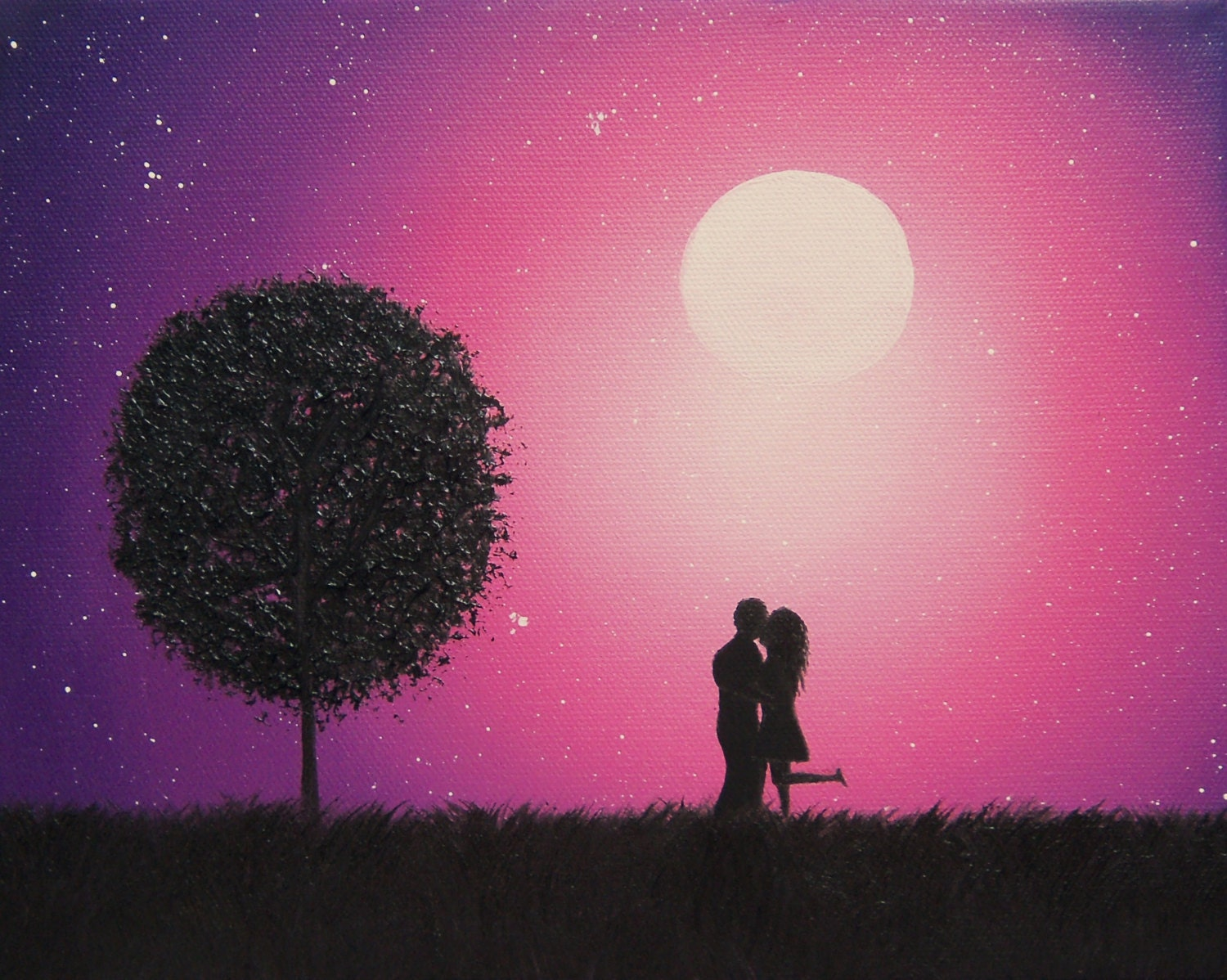 Couple In Love Art Print Kissing Silhouette