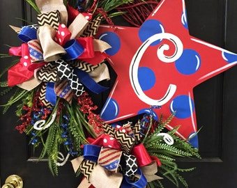 Polkadot Patriotic Star Wreath