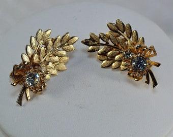 Sarah Coventry Rhinestone Leaf Clip Earrings, 60's Sarah Coventry Earrings, Vintage Gold Floral Clip Earrings Under 18