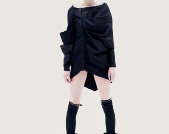 Black Jacket, Long Sleeve Jacket, Black Women's Jacket, Winter Jacket, Asymmetrical Jacket, Asymmetrical Top, Deconstructed Jacket