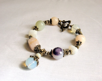 Gemstone bracelet for women from rose quartz, opalite, agate, white jade