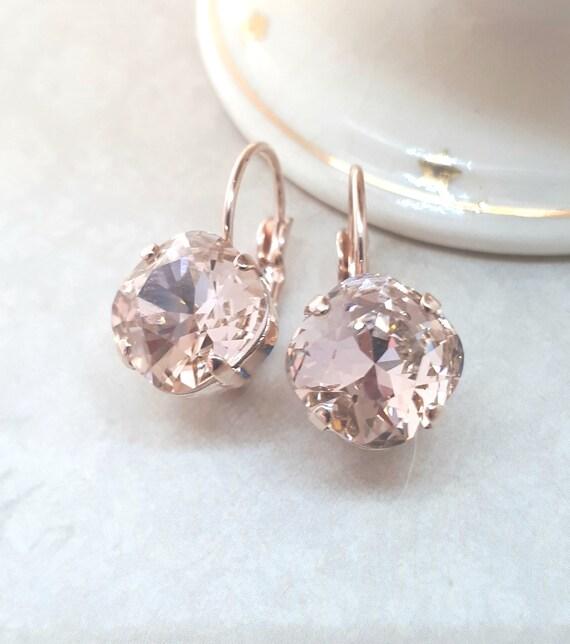 Rose Gold Blush Earrings Bridesmaid Jewelry Blush Wedding Vintage style Swarovski Elements Vintage Rose