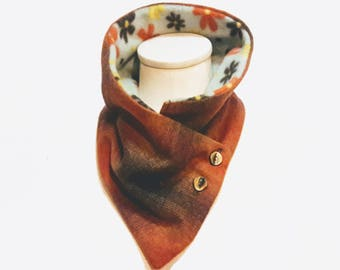 Earth Tone Neck Warmer for Women from Upcycled Tartan Wool and Mint Fleece -- Eco Fashion -- Scarf Alternative Neck Wrap - Brown Orange Mint