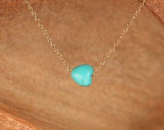 Tiny turquoise necklace - tiny heart necklace - delicate and dainty necklace - a little turquoise heart on a 14k gold vermeil chain