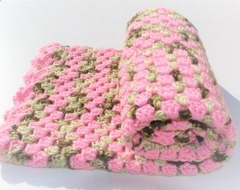 Crochet Baby Blanket, Pink Camo Blanket, Pink Baby Blanket, Crochet Blanket, Camo Baby Blanket, Handmade Blanket, Baby Girl Baby Shower Gift