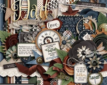On Sale 50% Dad Father's Day Digital Scrapbook Kit, Project Life