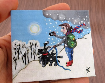 "Small Acrylic Original Painting on Tiny Canvas- White Winter Painting  ""Shooting the beautiful day""- Christmas Gift"