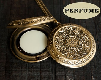 Perfume Locket Necklace with Solid Scent - Victorian Gold Brass - Round Floral - Choose Your Scent