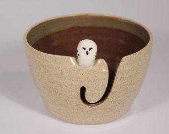 Snowy Owl Yarn Bowl, Snow Owl, Yarn Bowl