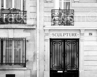 Door Photo, Black & White Paris Photography, Paris Door, Vertical Neutral Wall Art, Paris Wall Decor