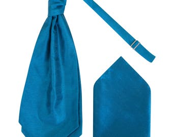 Mens Teal Blue Luxury Dupion Scrunchie Cravat with matching Pocket Square Pre-Tied