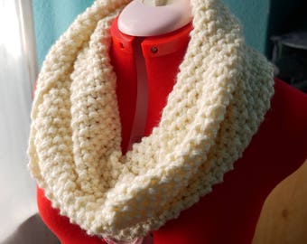 Hand-Knitted Soft Delicate Cowl-Buttercream