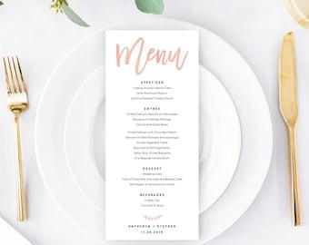 Rose Gold Wedding Menu Template Download, Printable & Editable Calligraphy Wedding Menu, A4, US Letter Wedding Menus PDF Instant Download.
