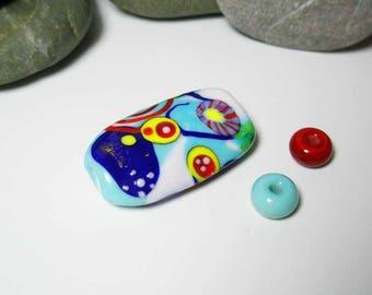 lampwork focal bead art glass bead Indigosoda venetian glass pendant necklace one of a kind ooak SRA * Pop Art * (1)