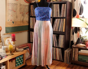 pastel vintage rayon maxi skirt by Globetrotter, made in Bali . womens large xl