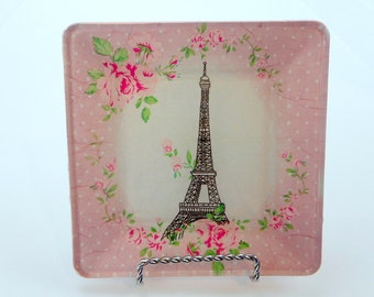 Decorative Plate - Eiffel Tower - Wall Art - Decoupage Plate - Paris Home Decor - Square Plate - Gifts for Her - 6 X 6 Inch Square Plate