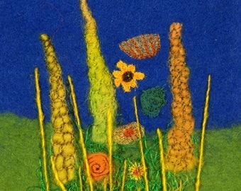 Cottage Garden flowers GREEN textile art greeting card (CG3)