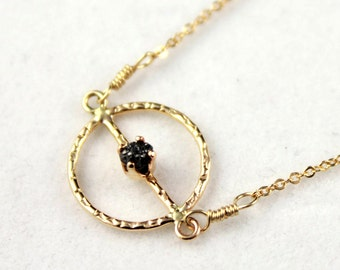 Textured Charm Necklace - Black Rough Diamond Necklace - 14K Gold Filled - Bridal Jewelry