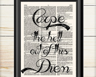 Carpe Diem, Typography Print, Inspirational Wall Art, Dictionary Print, Book Print, 011