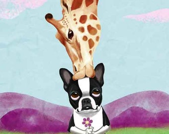 Boston Terrier and Giraffe Dog Art Print, Boston terrier gift, boston terrier decor, boston terrier art, Giraffe art