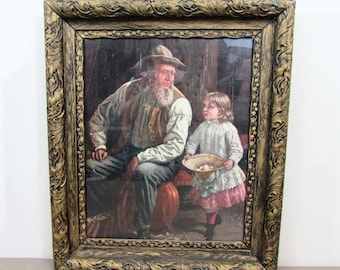 "Antique large wood frame with gesso pattern - 26"" x 22""  - grandfather granddaughter print -  c 1900"