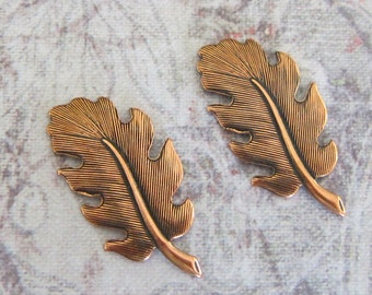 2 Small Copper Leaf Findings 3501C