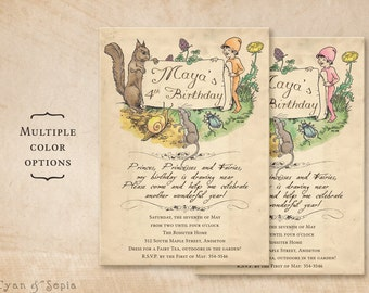 Printable Birthday Invitation - 5 x 7 - Woodland Fairy Tale Animals - Storybook, Vintage, Book, Forest, Mouse, Squirrel