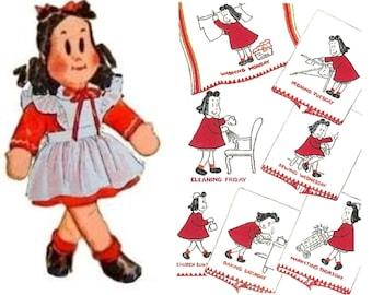 Little Lulu, Cloth Doll Pattern, Little Lulu Xfer, Hand Embroidery, Vintage Clothes, Pattern, Days of Week, Motifs, PDF Patterns, Digital
