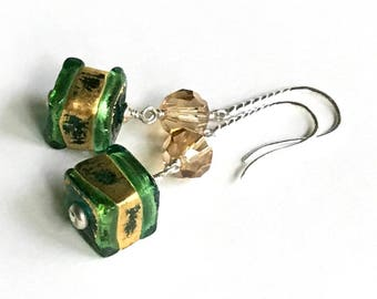 Green Gold Murano Glass Sterling Silver Geometric Dangle Earrings Sterling Silver for Her Under 90 Free US Shipping & Gift Wrap