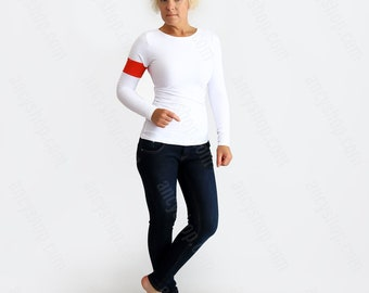 Designer White Top, Casual White Shirt, Slim Fitted Top, Basic T Shirt, Long Sleeve Tee, Unique Blouse, Bodycon Top, Everyday Top, White Top