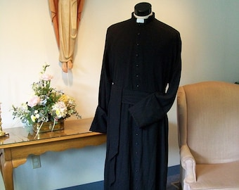 Clergy cassock Roman classic custom made vestment  black robe, easy care