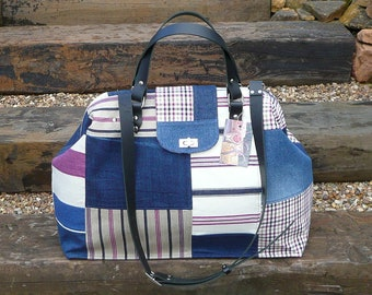 Patchwork Denim, Carpet Bag, Weekender Bag, Mary Poppins Bag, Bags and Purses, Luggage and Travel, Overnight Bags,