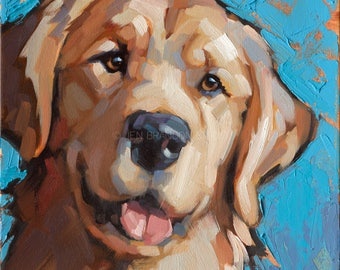 Dog Pet Portrait Golden Retriever - Alla Prima Painting