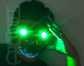 Props Dj Mask LED Green Eyes Fx Robot Mask - Red Mask Cosplay Electric Cyber Light Up Mask Rave Mask for DJ Gigs Scifi Cyborg Costume