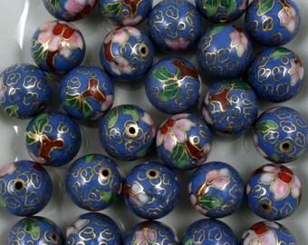 14mm Blue Cloisonné Bead (2 Pcs)  #1501