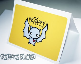 Be Happy Bat Blank Card - encouragement birthday anniversary congratulations anything - ReLove Plan.et Art Print
