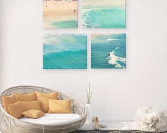Beach photo set, beach photography, seaside, blue wall art, ocean coastal nautical decor, aqua peppermint surfer, spa yoga beach house print