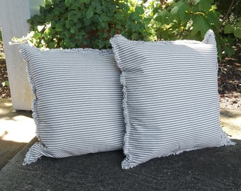 "2 Blue Ticking Pillows 24"" Striped Pillows Decorative Pillows Navy Stripe Throw Pillow Covers French Country Porch Pillows Nautical TIcking"