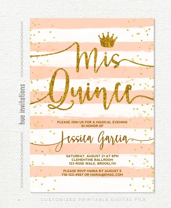 Quinceaera invitation mis quince coral peach stripes gold solutioingenieria Image collections