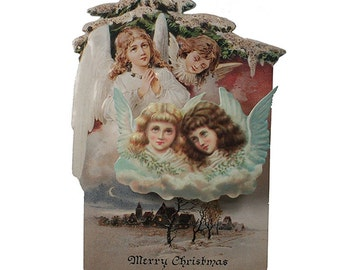 Vintage Christmas Card Made In USA Embossed Victorian Angels  CD 009