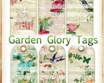 Garden Glory Vintage Floral Tags INSTANT DOWNLOAD Cottage Chic Distressed Digital Printable